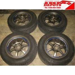 215-65-16 MICHELIN TIRES + WEDS SPORT RACING WHEELS (7 SPOKES) MAG WHEELS/ RIMS  BOLT PATTERN 5X100 OFFSET +33 SIZE 16X7.00JJ WEDS SPORT RACING RIMS JDM MONTREAL, JDM QUEBEC, JDM CANADA, JDM RIVESUD, MAG WHEELS, JANTES, RIMS
